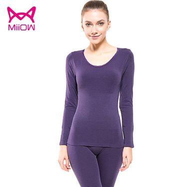 Miiow/猫人 新款女士保暖套装基础 打底圆领修身显瘦蕾丝美体内衣秋衣秋裤