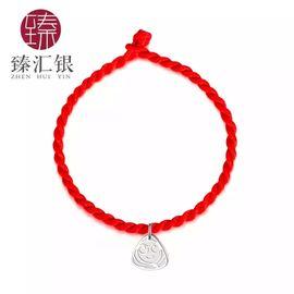 臻汇银 S990纯银足银手链 端午节礼物 小粽子银粽子 送红绳送银链