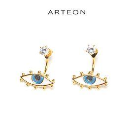 astrologie x ARTEON恶魔之眼纯银耳环女士锆石镶嵌耳钉韩潮耳饰