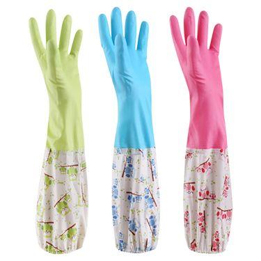 家杰  洗碗洗衣橡胶手套 耐用防水乳胶手套 胶皮手套 家务手套 洗碗手套 长款3双装 L码 JJ-405