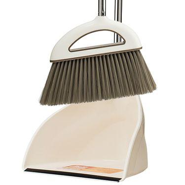 家杰 家用扫地扫水笤帚 大号不锈钢扫把簸箕套装 软毛 地板清洁工具(乳白色) JJ-202