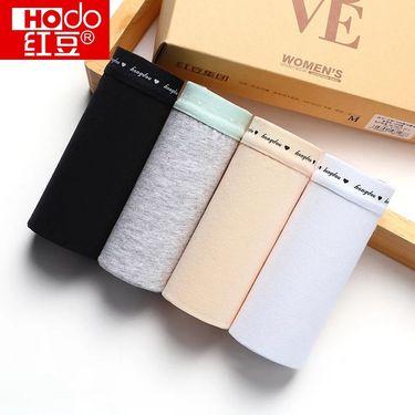 红豆 /Hodo 4条礼盒装 女士内裤女纯棉档底明筋 女内裤三角裤HD8128