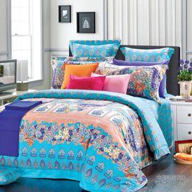 水星家纺 全棉斜纹印花床上四件套/布列塔尼(被套 200*230cm)