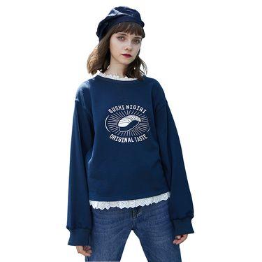PASS 2018新款秋装蕾丝拼接蓝色卫衣女宽松套头外套原宿风学生潮6830521111