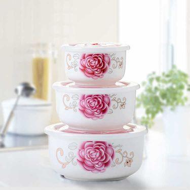 微浪 【保鲜碗三件套】陶瓷保鲜碗密封保鲜盒带盖泡面碗便当盒家用碗可微波