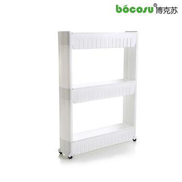 博克苏 BS008厨房卫浴三层滑轮夹缝架 收纳置物架 白色