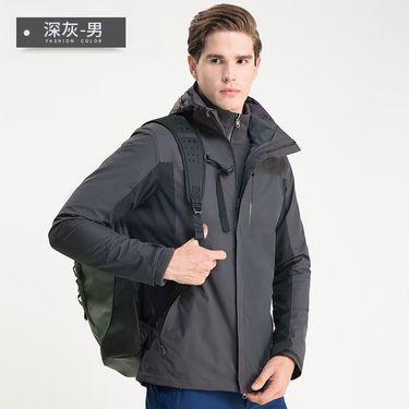 稻草人 户外三合一两件套冲锋衣潮牌男女款登山服情侣防水防风外套13834