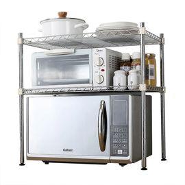 生活谷 二层竹节管微波炉架厨房收纳架子JJ9108