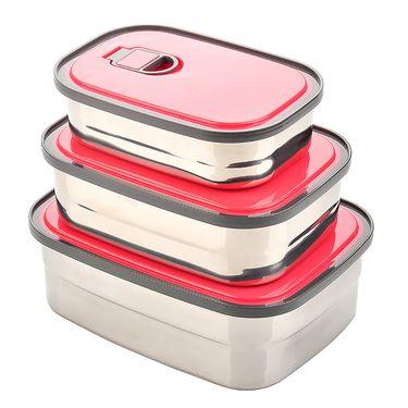 生活谷 【三套装】不绣钢长方型便携午餐便当盒SHG3074
