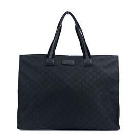 Gucci/古驰 【预售】经典双G 黑色男士购物袋手提包 意大利进口 洋码头