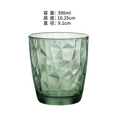 BORMIOLI ROCCO 【意大利进 口】钻石创意无铅耐热杯子果汁杯牛奶杯茶 杯 绿色390ml*2只