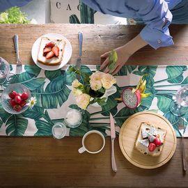 范居态度 原创现代北欧清新植物棉麻餐桌布电视柜茶几桌布台布盖巾桌旗-A款