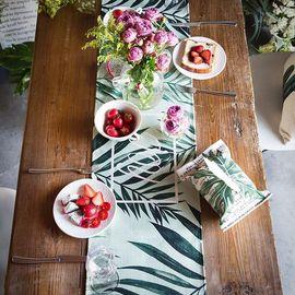 范居态度 原创现代北欧清新植物棉麻餐桌布电视柜茶几桌布台布盖巾桌旗-D款