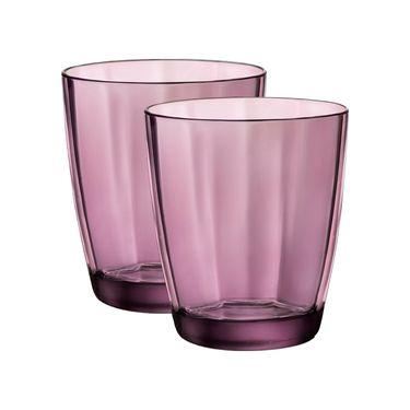 BORMIOLI ROCCO 【意大利进 口】魄莎玻璃水杯 家用水杯饮料杯 餐厅茶杯 紫色390ml*2只