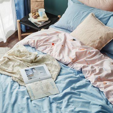 丽芙 日式水洗棉四件套(游泳) 1.2米单人床1.5米1.8m双人床品套件床单被套全棉纯棉床上用品