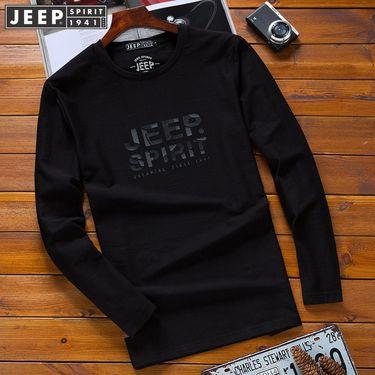 Jeep 新款正品JEEP圆领长袖t恤 休闲男装宽松大码体恤打底衫青年潮11830705005
