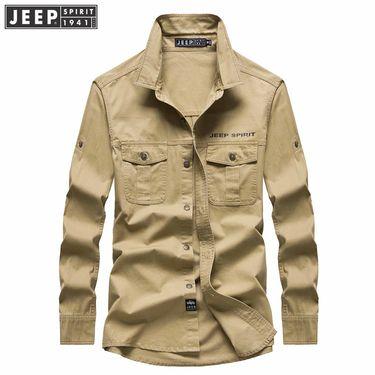 Jeep 吉普男装秋季新款宽松大码全棉休闲打底长袖衬衫衬衣/RSC002