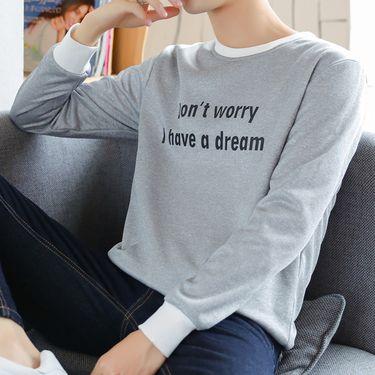 富贵鸟 秋季圆领套头衫卫衣男生青少年上衣韩版修身学生印花长袖t恤潮流Y87