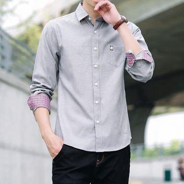 库依娜 衬衫男士新款长袖衬衫秋季时尚休闲衬衫青年寸衫上衣SY17010