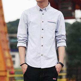 库依娜 衬衫男长袖衬衫秋季新款休闲青年特色牛津纺衬衣SY1801
