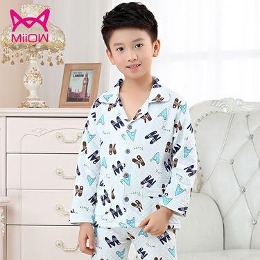 Miiow/猫人 儿童睡衣纯棉长袖秋冬季男女中大童三层开衫童装家居服套装
