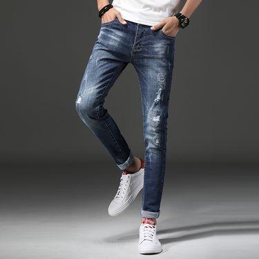 库依娜 秋季新款牛仔裤韩版小脚裤男裤时尚牛仔长裤 WLYJ1605