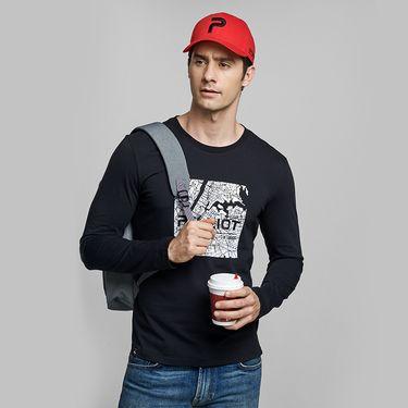 伯希和 户外长袖T恤男春秋纯棉薄款圆领打底衫休闲透气跑步运动T恤
