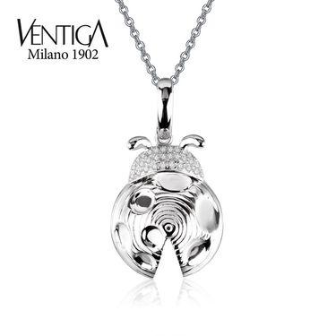 梵蒂加 Ventiga 18K白金群镶天然圆形南非钻石瓢虫吊坠钻石项链女