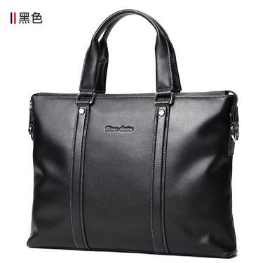 美洲野牛 皮男包商务男士手提包横款公文包皮单肩斜挎包电脑包N2818-3