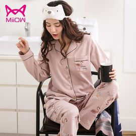 Miiow/猫人 睡衣女秋冬全棉加厚长袖棉质翻领款家居服女士卡通印花套装