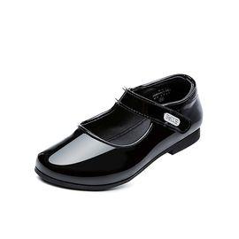 百丽 童鞋女童单鞋2018春季新款中童学生鞋公主鞋女童黑色小皮鞋女DE0695