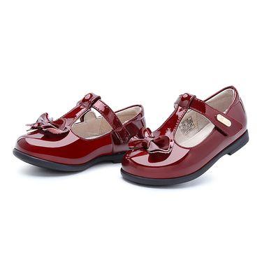 百丽 童鞋女童公主鞋2018秋季新款小童蝴蝶结学生鞋儿童小皮鞋单鞋DE0759