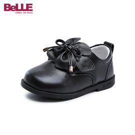 百丽 童鞋儿童学步鞋2018秋季新款幼童宝宝鞋女童公主鞋小皮鞋牛皮革单鞋DE5964