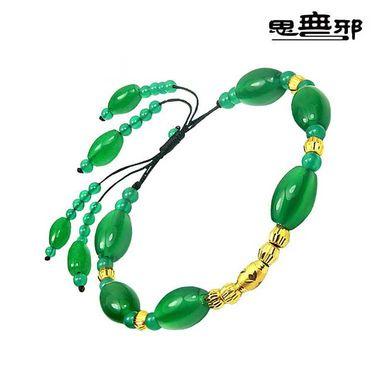 思无邪 绿玛瑙黑绳足金转运珠黄金手链女款手镯