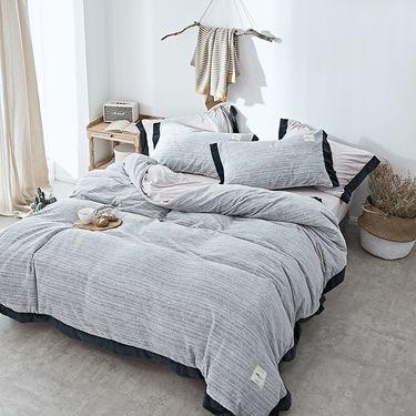 卡佩利丝 秋冬优质加厚臻棉绒保暖四件套床 上用品-赫拉-银灰(多规格可选)ZT