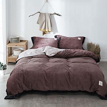 卡佩利丝 秋冬优质加厚臻棉绒保暖四件套床 上用品-克瑞斯-酒红(多规格可选)ZT