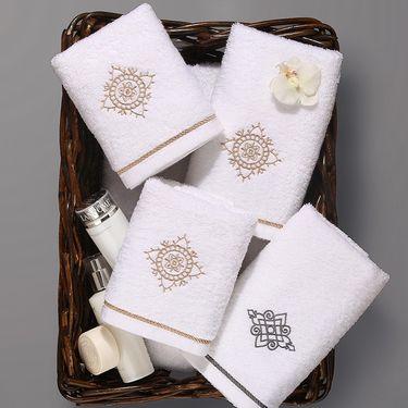 康尔馨 酒店宾馆白色毛巾纯棉绣花洗脸面巾全棉成人加大加厚吸水 细腻纯棉 藤萝绣花 精致典雅