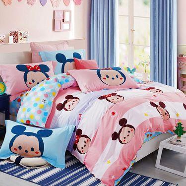 DISNEY 迪士尼卡通儿童床上用品床单三件套四件套全棉纯棉男孩女孩公主风