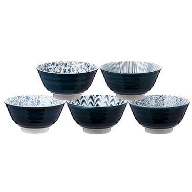 MORITOKU 日本进口家用陶瓷可爱卡通餐具日式创意和风釉下彩碗五件套 B1333 青卷
