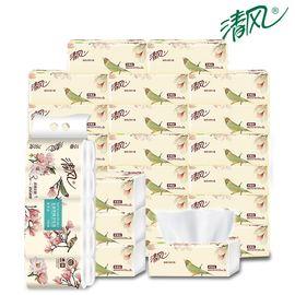 清风 优质原木18包3层抽纸+10卷3层76克卷纸 加倍柔韧