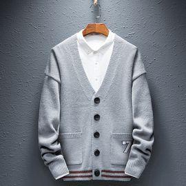 富贵鸟 男士开衫毛衣外套2018新款秋冬季加肥加大码针织衫男潮流线衣1816