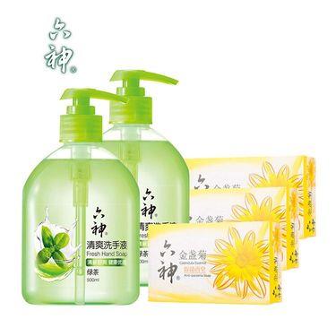 六神 清爽洗手液(绿茶)500ML*2瓶+除菌香皂125G*3块