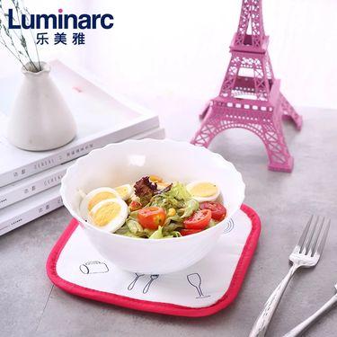 乐美雅 (Luminarc)特瑞欧白色钢化无铅玻璃面碗汤碗沙拉碗18cm 2只装