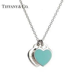 蒂芙尼Tiffany&co.  925银经典双心形蓝色珐琅 女士项链 送恋人