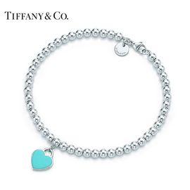 蒂芙尼Tiffany&co. Return to Tiffany系列 经典 925银珠式心牌蓝色珐琅女士手链