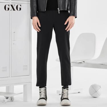 GXG 休闲裤男装 秋冬男士修身时尚黑色韩版男潮流商务正装直筒裤子