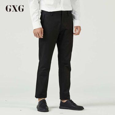 GXG 休闲裤男装 秋季男士时尚潮流黑色裤子男韩版修身直筒休闲裤男