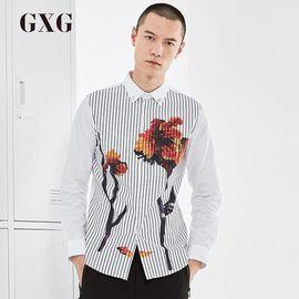 GXG 长袖衬衫男装 秋季男士条纹衬衫白色休闲棉衬衣商务潮流长袖男