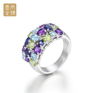 延金 奢华炫彩宝石风S925银镶嵌时尚戒指 #17 约8.19g