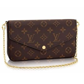 LOUIS VUITTON 【预售】LV新款FELICIE系列女士老花三合一搭扣长款钱包手提包 M61276老花  洋码头